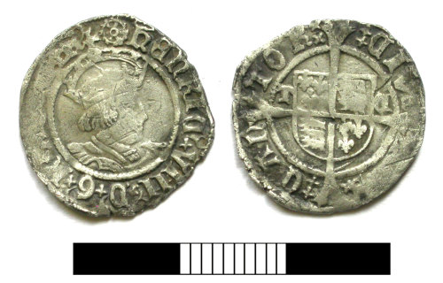 SUR-DFBCD6: Post medieval coin: Halfgroat of Henry VIII