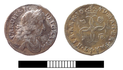 SUR-2BC7D5: Post medieval coin: Fourpence of Charles II