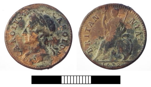 SUR-46340D: Post medieval coin: Farthing of Charles II