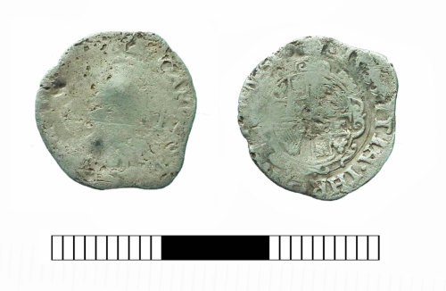SUR-F8F344: Post medieval coin: Halfgroat of Charles I