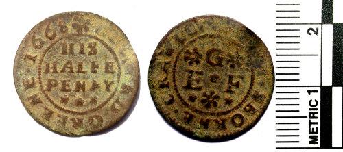 BERK-ED576B: Post-medieval trade token halfpenny of Edmund Greene of Husborne Crawley, Bedfordshire