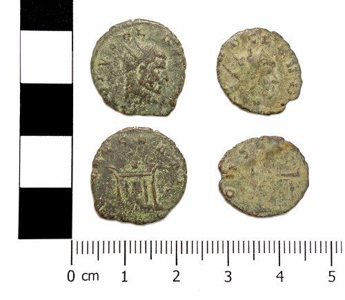 ASHM-2ACFE9: Roman coins: 2 radiates of Claudius II Gothicus