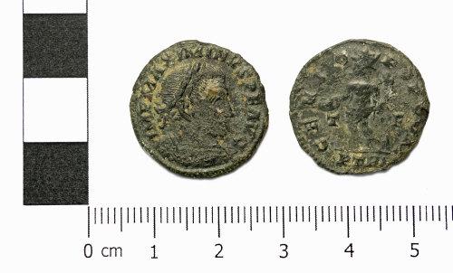 ASHM-73E28A: Roman coin; nummus of Maximinus Daia