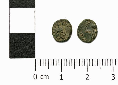 ASHM-7475F8: Roman coin; barbarous radiate of a ruler of the Gallic Empire