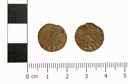 ASHM-B664F5: 17th century copper-alloy farthing trade token
