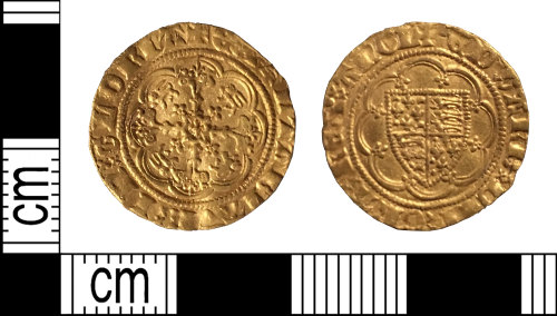 DENO-96658F: Medieval coin: quarter noble of Edward III