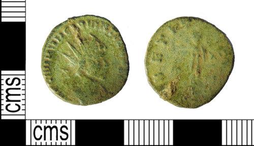 LEIC-C57EAB: Roman copper alloy radiate of Quintillus