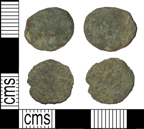 BH-0FE0B4: Roman coins: contemporary copies of two radiates or nummi of uncertain emperors