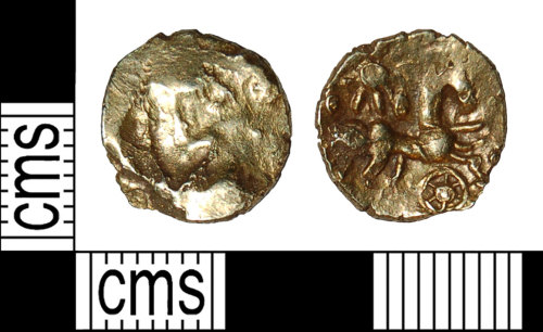 BH-250D28: Iron Age coin: gold quarter stater of the Regini and Atrebates