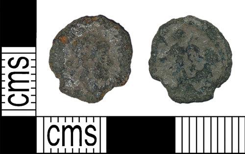 BH-27A736: Roman coin: nummus of the House of Theodosius