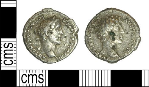 BH-33609A: Roman coin: silver denarius of Antoninus Pius and Marcus Aurelius