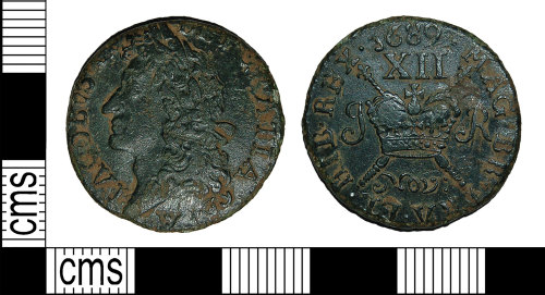 BH-37A216: Post-Medieval coin: 'Gunmoney' Irish shilling of James II