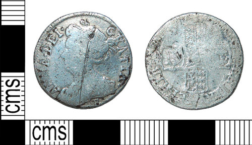 BH-4A83A5: Post Medieval coin: silver sixpence of Queen Anne