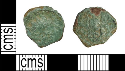 BH-4B4F4D: Roman coin: barbarous radiate Tetricus II (probably)