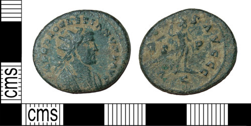 BH-4D6353: Roman coin: radiate struck by Carausius in the name of Diocletian