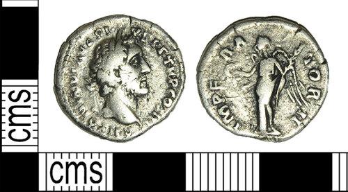 BH-E27F16: Roman coin: denarius of Antoninus Pius