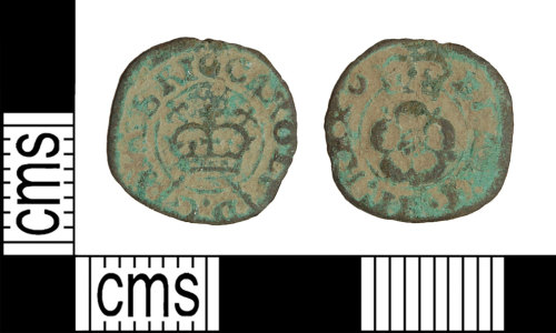 A resized image of Post-Medieval coin: rose farthing of Charles I