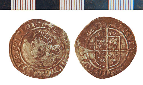 NLM-1C2276: Post-Medieval Coin: Sixpence of Elizabeth I