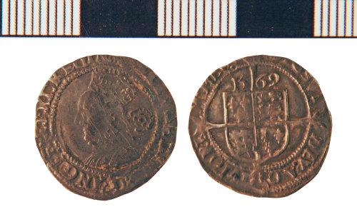 NLM-95FD22: Post-Medieval Coin: Threepence of Elizabeth I