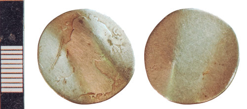NLM-B11F66: Post-Medieval Coin: Sixpence of Anne, folded