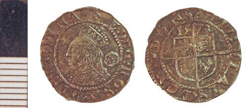 NLM-154C2C: Post-Medieval Coin: Three Halfpence of Elizabeth I