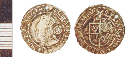 NLM-9ADF45: Post-Medieval Coin: Threepence of Elizabeth I