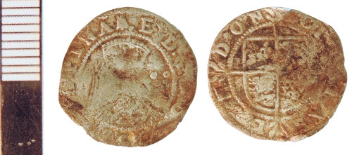 NLM-0EF676: Post-Medieval Coin: Halfgroat of Elizabeth I