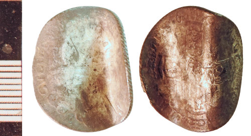 NLM-4262E3: Post-Medieval Coin: Sixpence of William III, folded as a keepsake