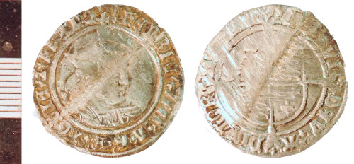 NLM-6AD355: Post-Medieval Coin: Groat of Henry VIII