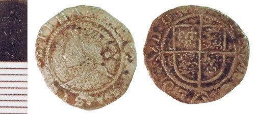 NLM-1727D8: Post-Medieval Coin: Halfgroat of Elizabeth I