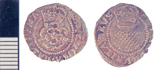 NLM-4C6AB5: Post-Medieval Coin: Halfgroat of James I