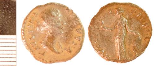 NLM-F39295: Roman Coin: Denarius of Faustina II