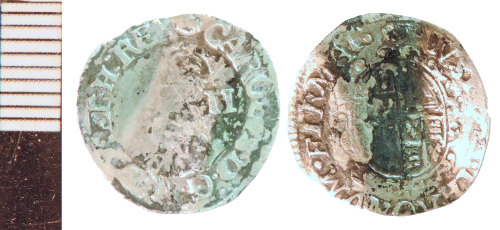 NLM-7F585E: Post-Medieval Coin: Halfgroat of Charles I, bent as a keepsake