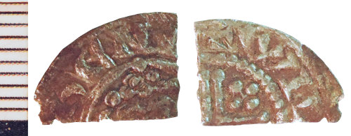 NLM-94BDAB: Post-Medieval Coin: Short Cross Cut Halfpenny, possibly of John