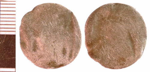 NLM-F22829: Post-Medieval Coin probably bent as a Keepsake