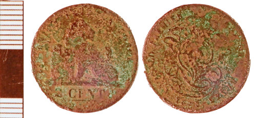 NLM-F3846F: Post-Medieval Two Cent Coin of an Indeterminate Foreign Authority