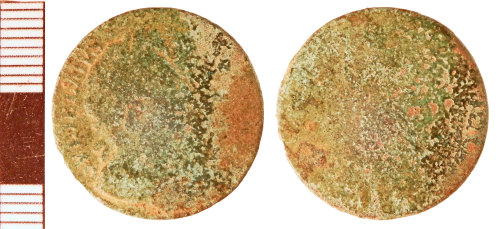 NLM-E97715: Post-Medieval Coin: Farthing of William and Mary