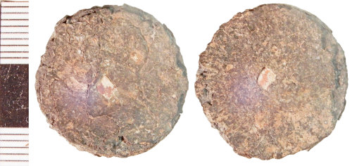NLM-48DDD2: Post-Medieval Plugged Tin Farthing, possibly of James II