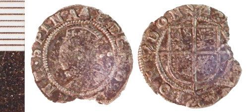NLM-410C21: Post-Medieval Coin: Halfgroat of Elizabeth I
