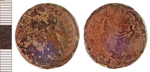 NLM-C416AF: Post-Medieval Coin: Irish Halfpenny of James II