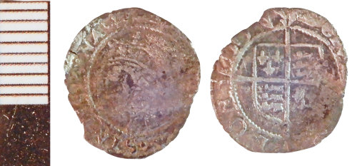 NLM-E8EDA4: Post-Medieval Coin: Penny of Elizabeth I