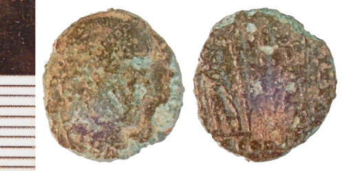 NLM-E09605: Roman Coin: Nummus of the House of Constantine