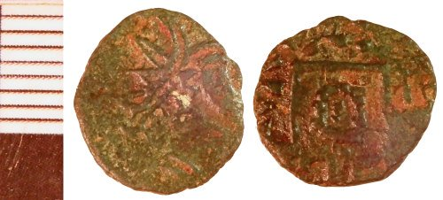 NLM-F40401: Early Medieval Coin: Sceat, possibly a base metal imitation