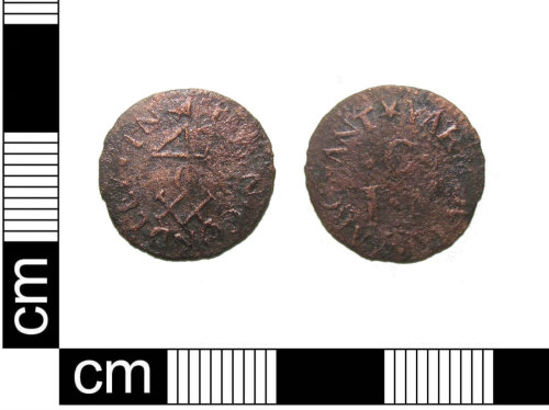 PUBLIC-321D6C: A post-medieval copper alloy farthing token issed by John Condley of Yarmouth, Norfolk, dating AD1648 - 1674.