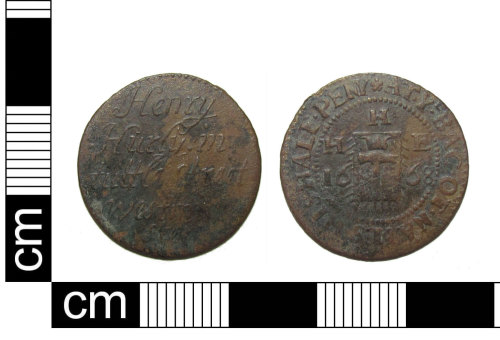 PUBLIC-8C0857: A complete post medieval copper alloy traders token farthing from Westminster, London, dated AD1668.