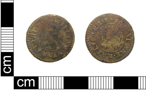 PUBLIC-4A1C36: A post-medieval copper-alloy trade token halfpenny issued by William Nynn of Ratcliff cross, London, dating AD1648 - 1674.