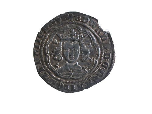 NMGW-EDBBA3: Medieval silver coin: groat of Edward III (obverse)