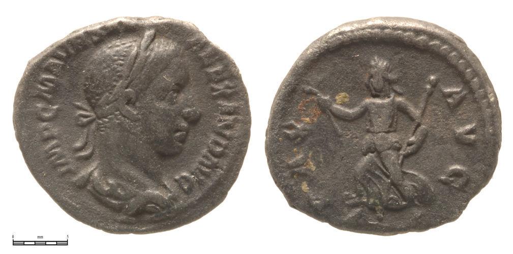 A resized image of Roman, Tin Alloy, Servus Alexander, cast counterfeit denarius