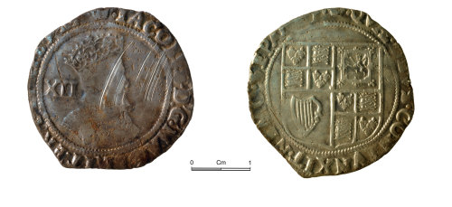 NMGW-ABA8DA: Post medieval silver coin; James I shilling