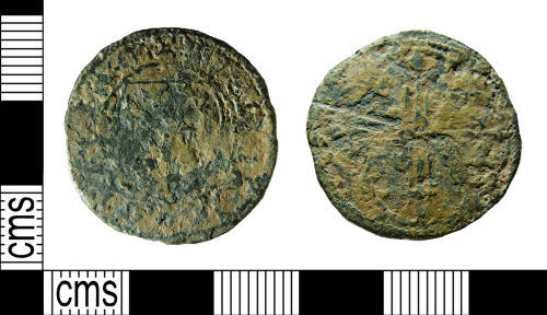 NMS-AF4B83: Medieval French jetton probably shield of France type